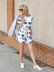 Tie Dye Short Sleeve Basic Romper