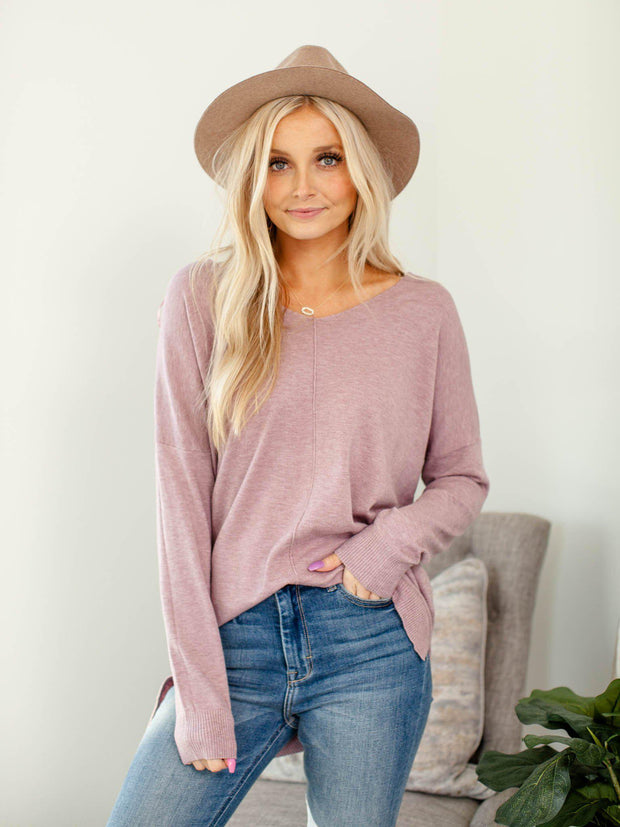 long sleeve basic v-neck top
