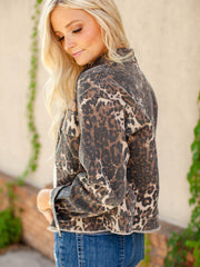 Collared Leopard Print Jacket