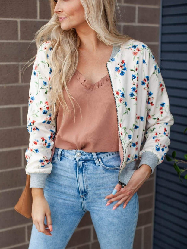 Ribbed Detail Floral Zip Front Jacket