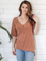 Free People Half Button Henley Top