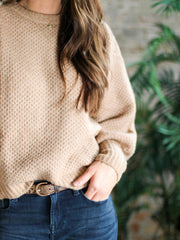Crew Neck Textured Sweater