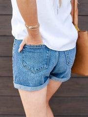 KanCan Roll Cuff Denim Shorts