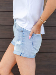 KanCan Lightwash Distressed Roll Hem Shorts