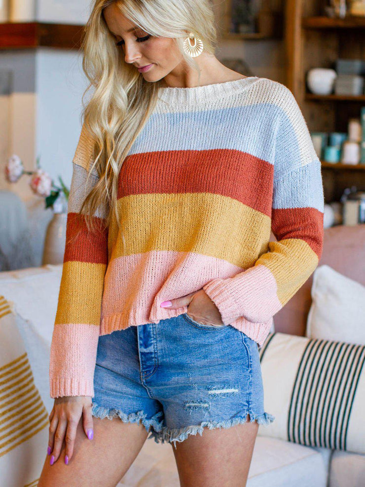 Billabong Color Blocked Stripe Pullover Sweater