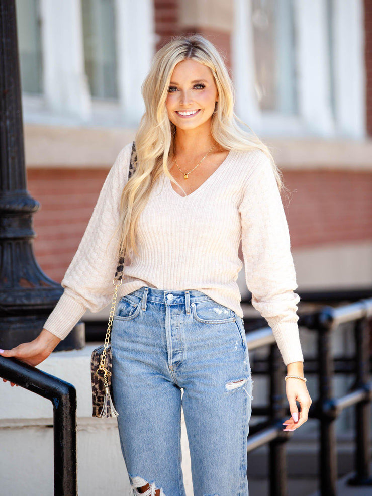 V-Neck Textured Sleeve Sweater