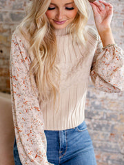 high neck floral sleeve sweater