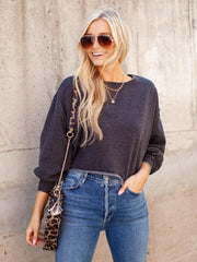 Raw Edge Cropped Sweatshirt
