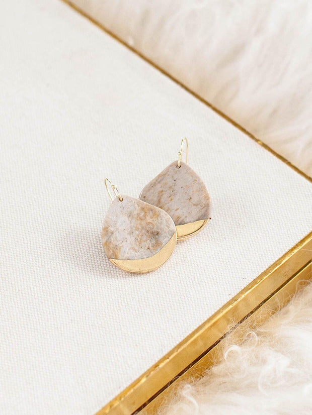 Dipped Stone Teardrop Earring