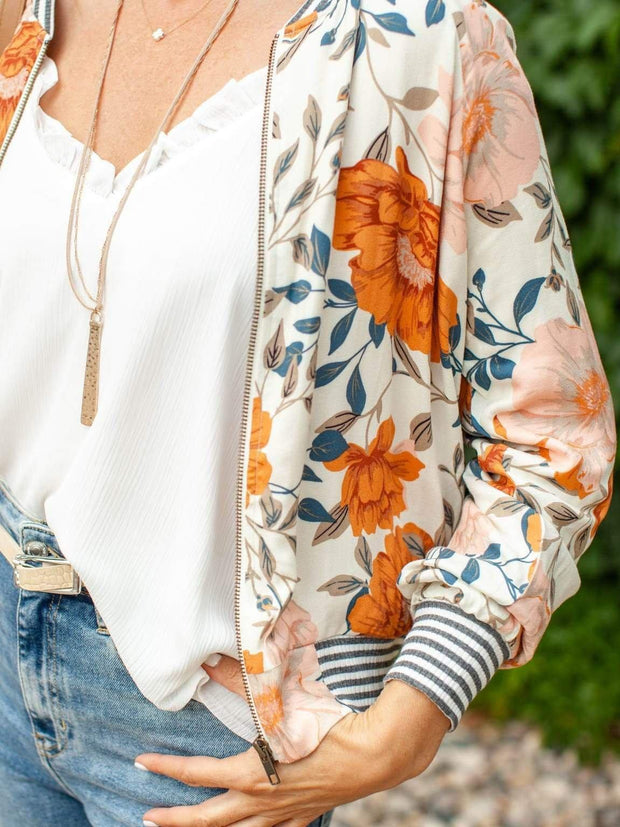 Saltwater Luxe Floral Zipper JAcket
