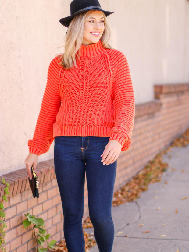 free people mock neck chunky sweater