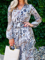 Animal Print Surplice Wrap Long Dress