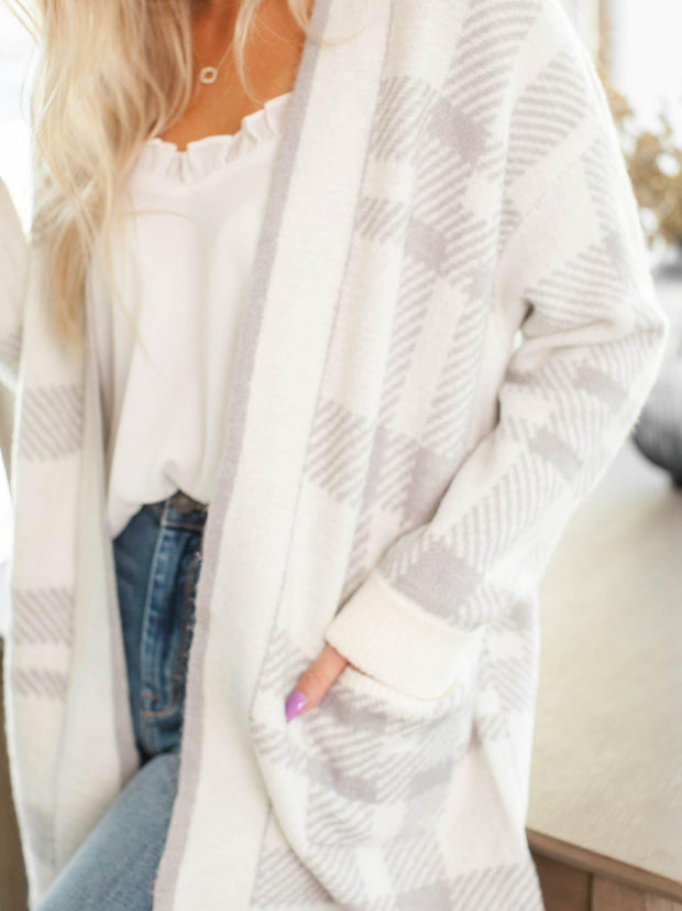 pocket front plaid cardigan