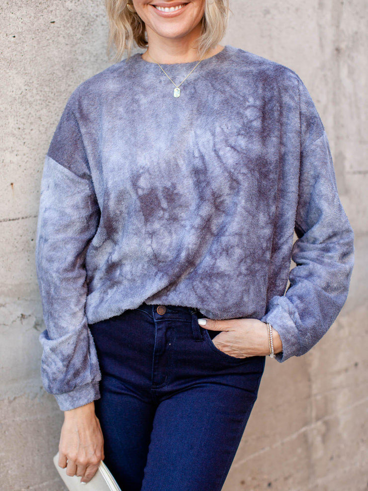 drop shoulder tie dye top