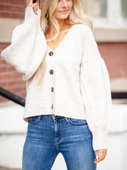 boxy cropped button front cardi