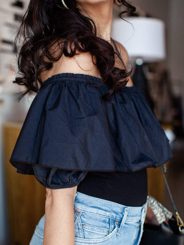 Free People Ruffle Popover Off The Shoulder Bodysuit