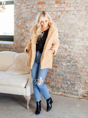 furry open front teddy coat