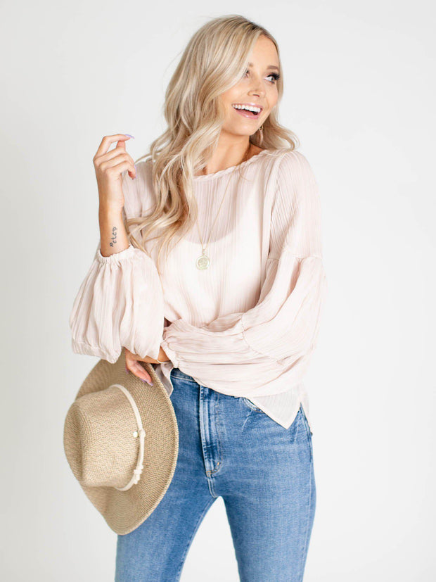 ribbed floty sleeve blouse