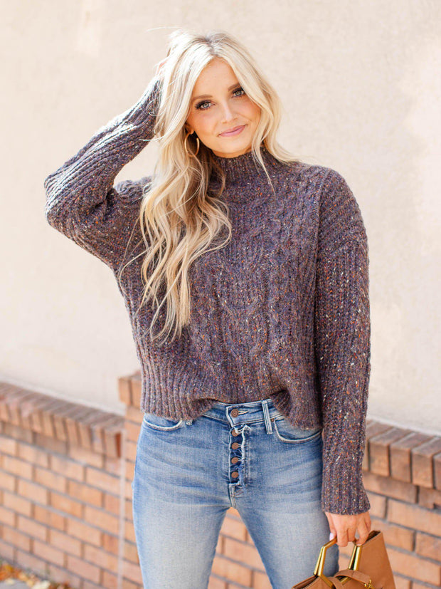 Speckle Cable Knit Sweater