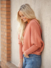 Hooded Rib Knit Sweater