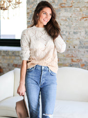 crewneck open knit ombre sweater