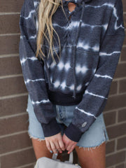 Free People Tie Dye Hooded Lace Up Sweatshirt