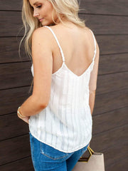Textured Low Back Twist Front Tank