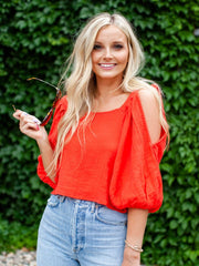 Billabong Cropped Cold Shoulder Blouse