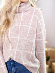 neutral grid sweater