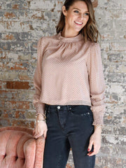 Mink Pink Smocked Cuff Blouse