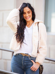 Faux Fur Ribbed Jacket