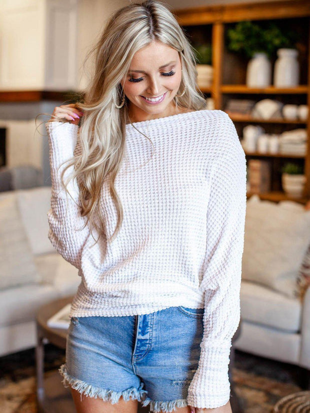 Elan Off The Shoulder Textured Shirt