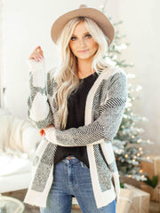 mixed grid print cardigan