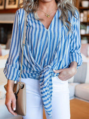Stripe Roll Tab Sleeve Tie Front Top