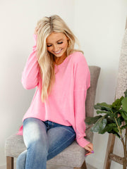 pink center seam sweater