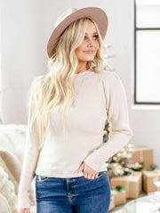 crew neck puff sleeve sweater