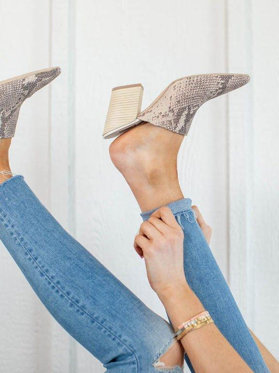 Printed Pointy Toe Mule