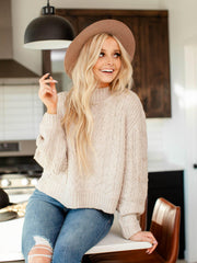 rib trim high neck sweater