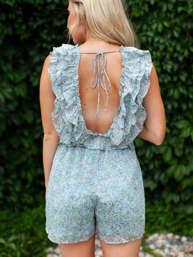 Open Back Ruffled Floral Romper