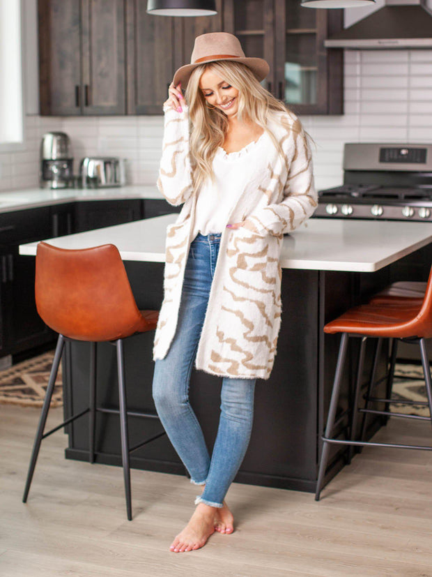 neutral animal print cardigan