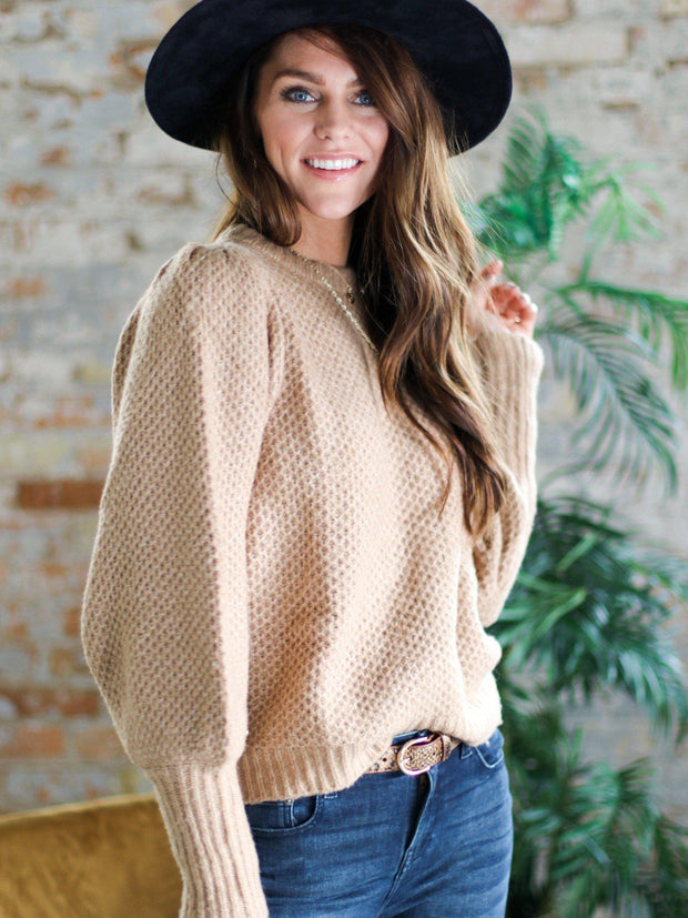 Ribbed Cuff Textured Sweater