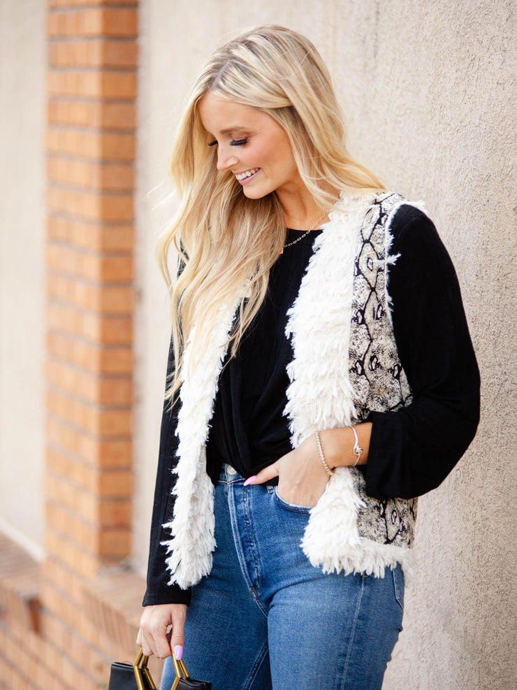 Mixed Textured Print Vest
