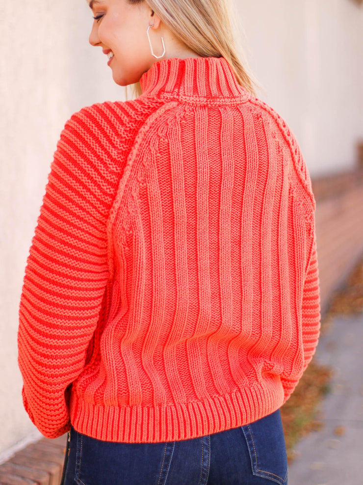 chunky ribbed mock neck sweater