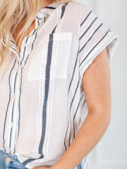 Dylan Lightweight Button Down Top
