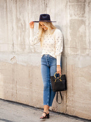 Puff Sleeve Polka Dot Sweater
