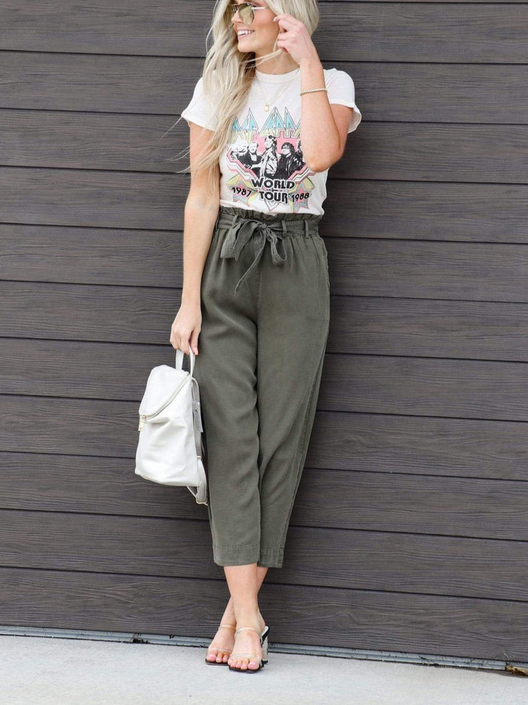 Cropped Washed Tie Front Pants