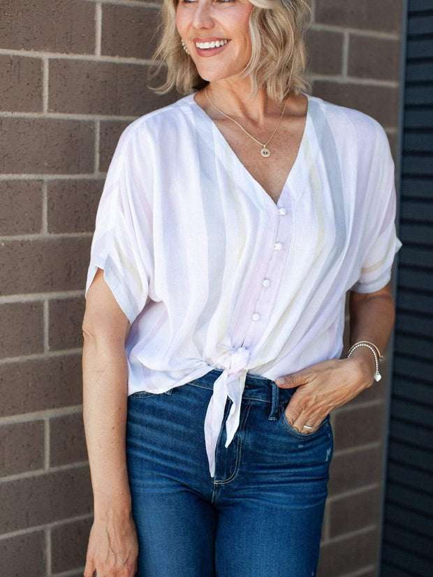 Rag Poets Muted Stripe Blouse