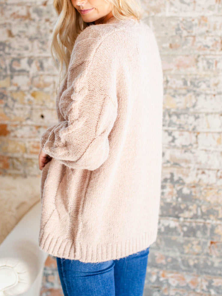 cable knit front open cardigan