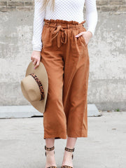Belted Paperbag High Rise Pants