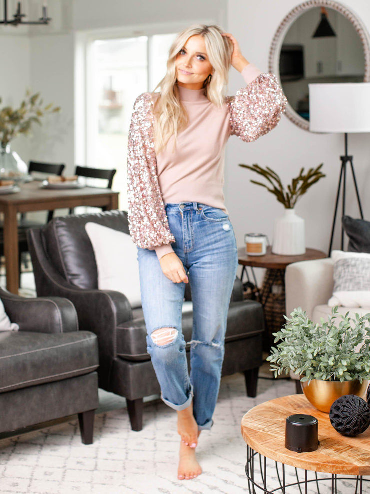 sequin long sleeve sweater